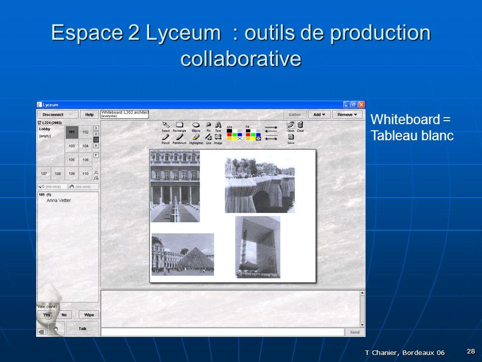 T Chanier, Bordeaux 06 28 Espace 2 Lyceum : outils de production collaborative Whiteboard = Tableau blanc