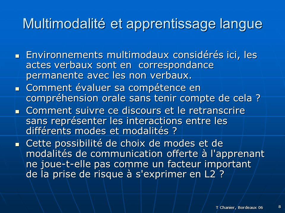 T Chanier, Bordeaux 06 8 Multimodalité et apprentissage langue Environnements multimodaux considérés ici, les actes verbaux sont en correspondance permanente avec les non verbaux.