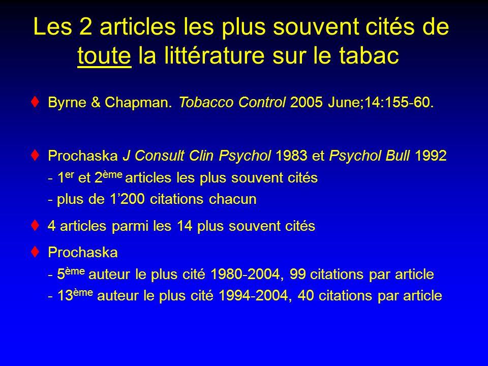 Les 2 articles les plus souvent cités de toute la littérature sur le tabac Byrne & Chapman. Tobacco Control 2005 June;14:155-60. Prochaska J Consult C