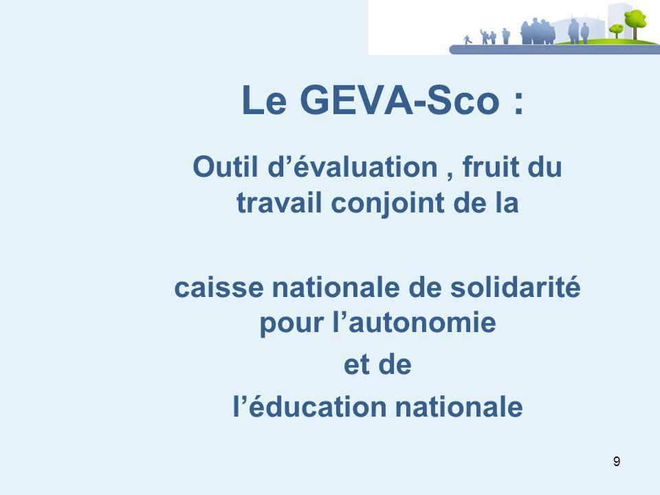 9 Le GEVA-Sco : Outil dévaluation, fruit du travail conjoint de la caisse nationale de solidarité pour lautonomie et de léducation nationale