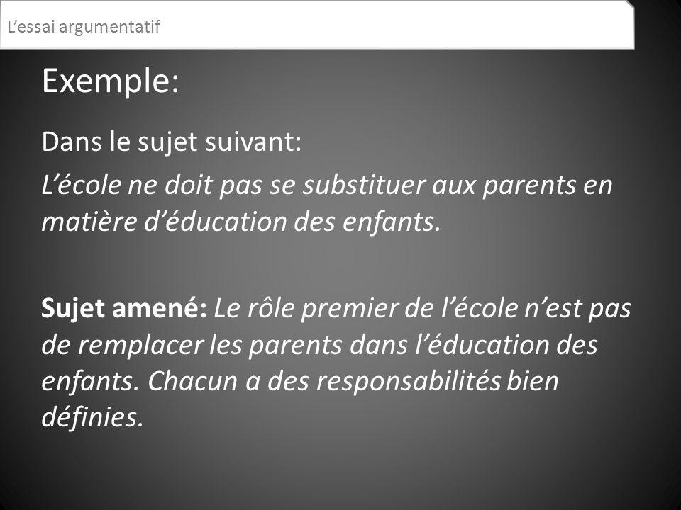 Exemple: Dans le sujet suivant: Lécole ne doit pas se substituer aux parents en matière déducation des enfants. Sujet amené: Le rôle premier de lécole