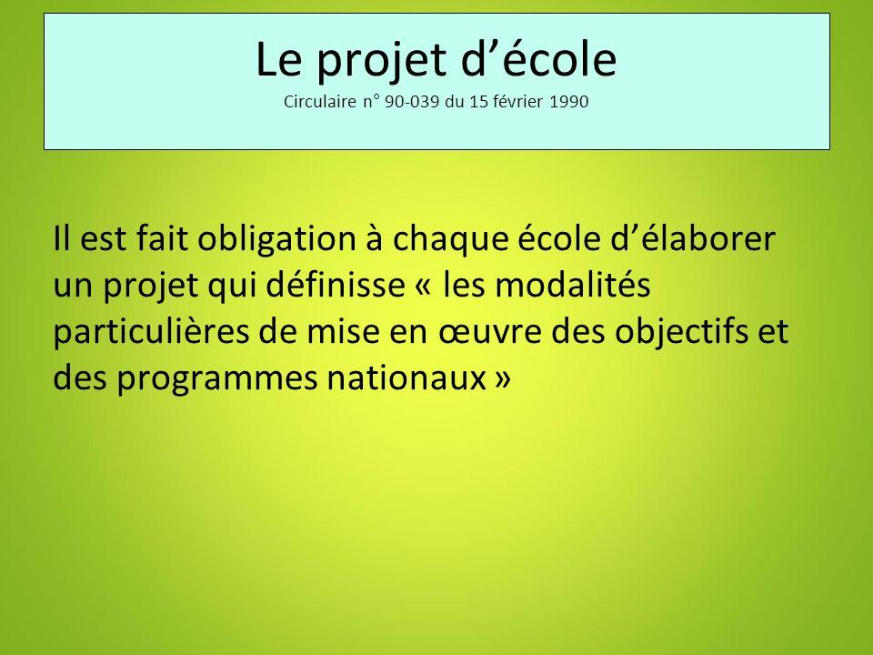 Le projet décole Circulaire n° 90-039 du 15 février 1990 Il est fait obligation à chaque école délaborer un projet qui définisse « les modalités parti