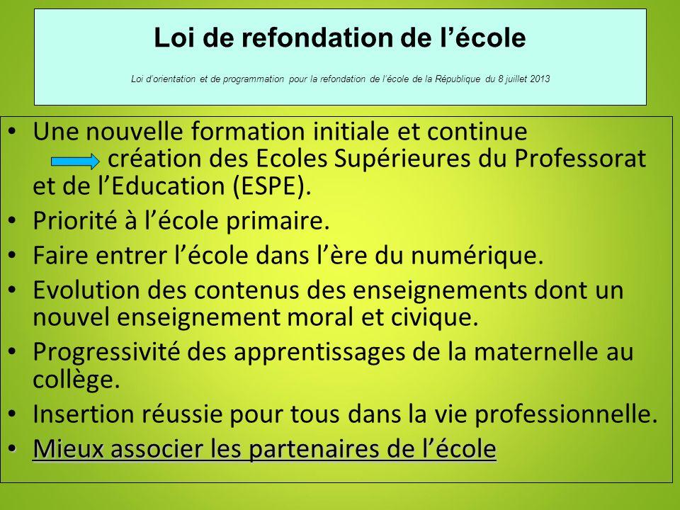 3 Loi de refondation de lécole Loi dorientation et de programmation pour la refondation de lécole de la République du 8 juillet 2013 Une nouvelle form