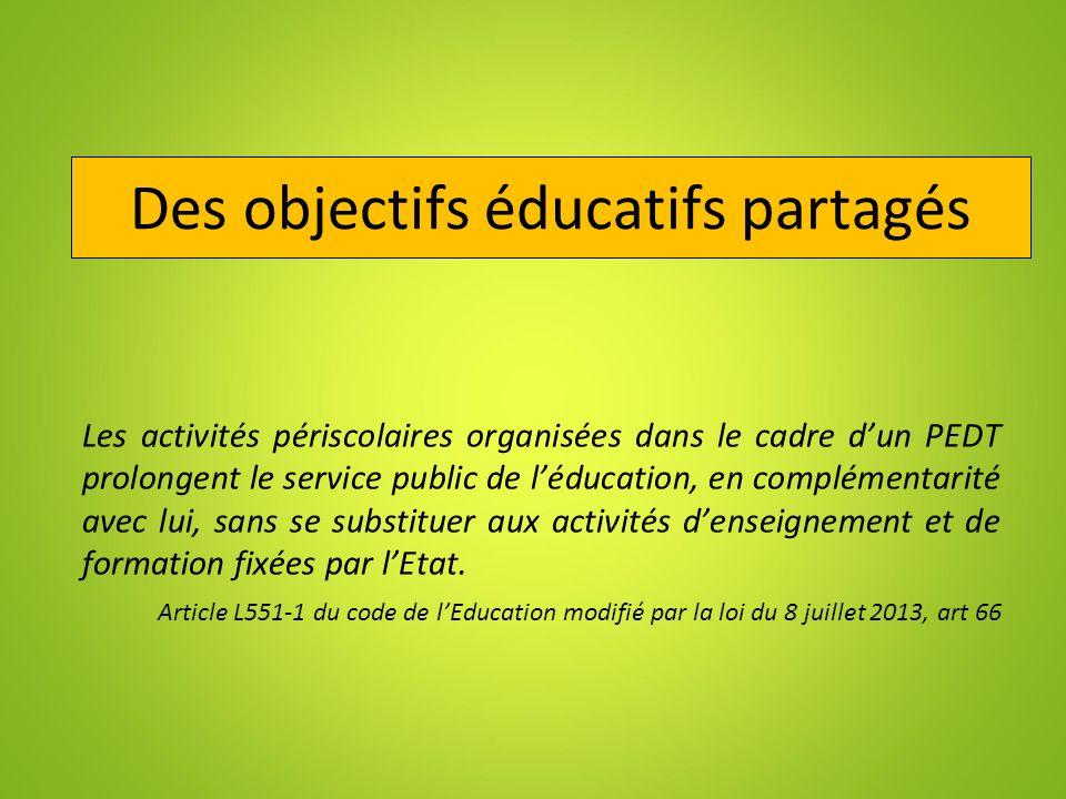 Des objectifs éducatifs partagés Les activités périscolaires organisées dans le cadre dun PEDT prolongent le service public de léducation, en compléme