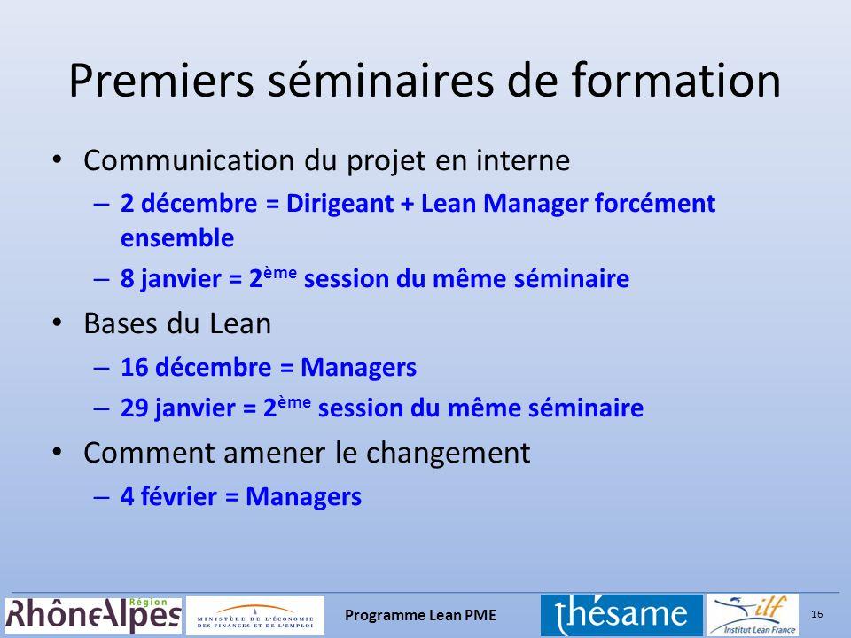 16 Programme Lean PME Premiers séminaires de formation Communication du projet en interne – 2 décembre = Dirigeant + Lean Manager forcément ensemble –