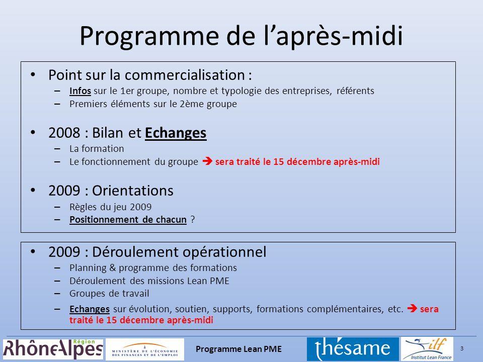 3 Programme Lean PME Point sur la commercialisation : – Infos sur le 1er groupe, nombre et typologie des entreprises, référents – Premiers éléments su
