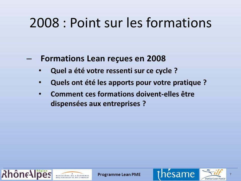 7 Programme Lean PME – Formations Lean reçues en 2008 Quel a été votre ressenti sur ce cycle ? Quels ont été les apports pour votre pratique ? Comment