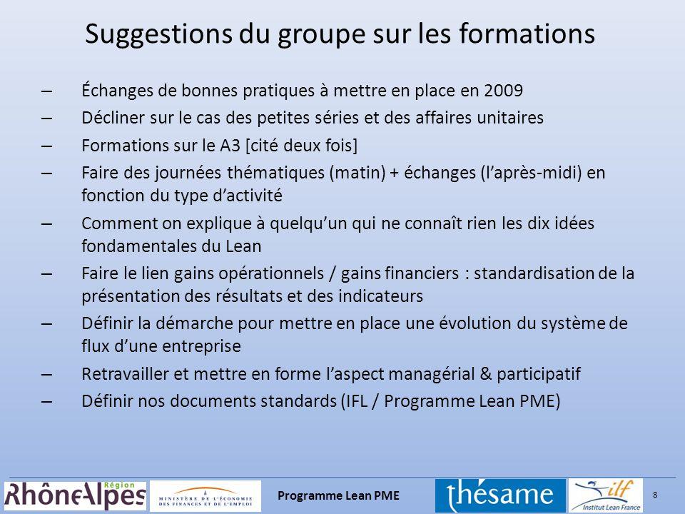 8 Programme Lean PME – Échanges de bonnes pratiques à mettre en place en 2009 – Décliner sur le cas des petites séries et des affaires unitaires – For