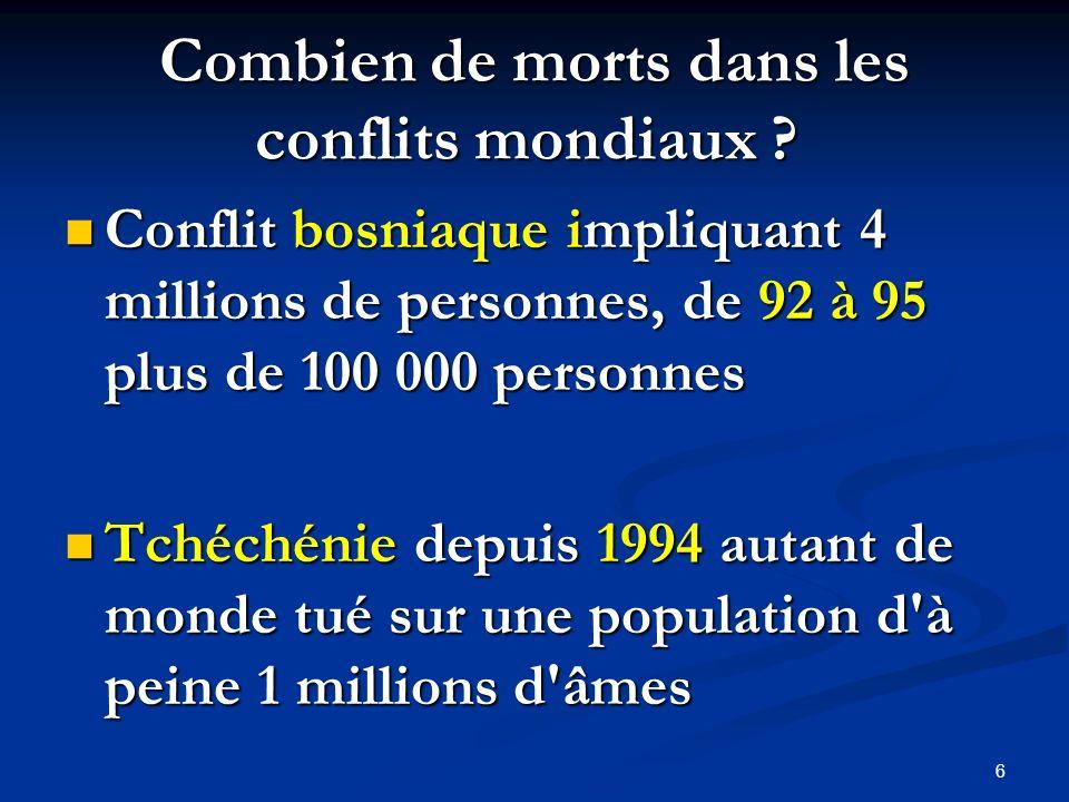 Combien de morts dans les conflits mondiaux ? Combien de morts dans les conflits mondiaux ? Conflit bosniaque impliquant 4 millions de personnes, de 9