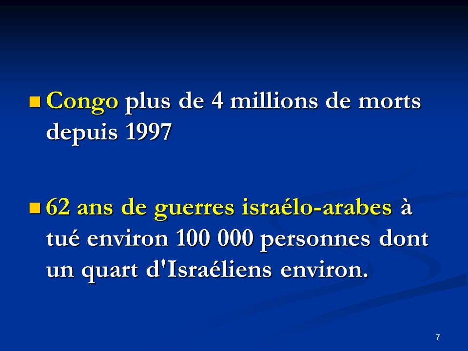 Congo plus de 4 millions de morts depuis 1997 Congo plus de 4 millions de morts depuis 1997 62 ans de guerres israélo-arabes à tué environ 100 000 per