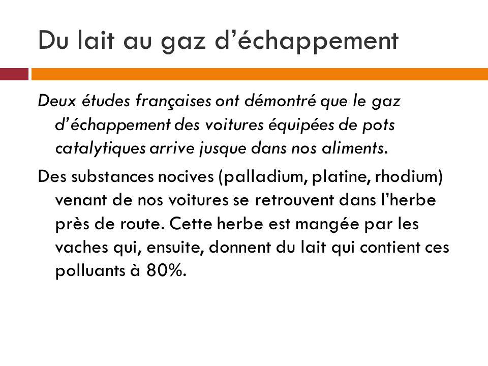 Du lait au gaz déchappement Deux études françaises ont démontré que le gaz déchappement des voitures équipées de pots catalytiques arrive jusque dans