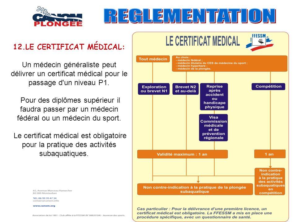 12.LE CERTIFICAT MÉDICAL: Un médecin généraliste peut délivrer un certificat médical pour le passage d'un niveau P1. Pour des diplômes supérieur il fa