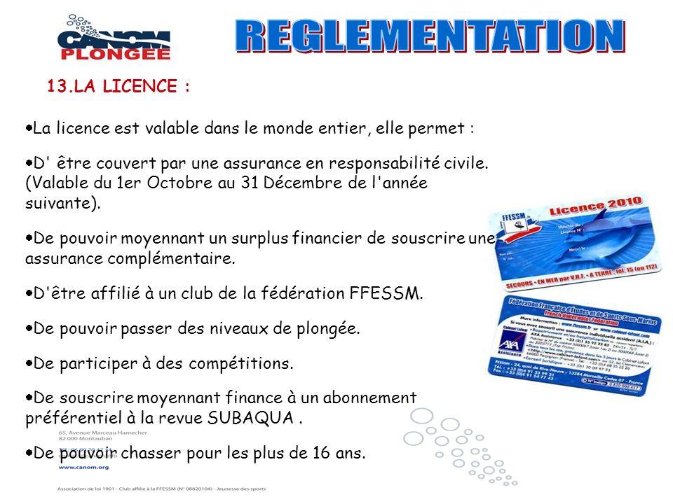 La licence est valable dans le monde entier, elle permet : D' être couvert par une assurance en responsabilité civile. (Valable du 1er Octobre au 31 D