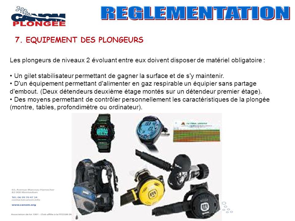 Les plongeurs de niveaux 2 évoluant entre eux doivent disposer de matériel obligatoire : Un gilet stabilisateur permettant de gagner la surface et de