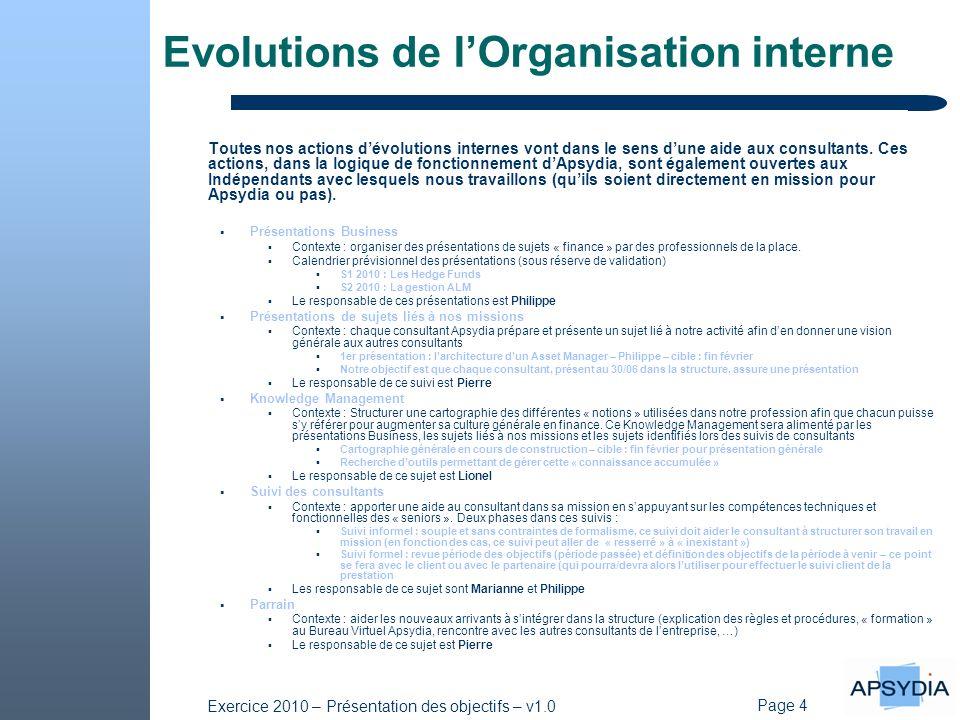 Page 4 Exercice 2010 – Présentation des objectifs – v1.0 Evolutions de lOrganisation interne Toutes nos actions dévolutions internes vont dans le sens dune aide aux consultants.