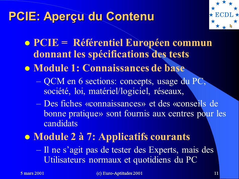 5 mars 2001(c) Euro-Aptitudes 200110 Organisation du PCIE CEPIS Fondation ECDL UK BCS SE DFS FR ASTI ICDL Canada Australie Zimbabwe Bermudes IRL ICS Euro-Aptitudes ECDL IRELAND Centres dexamen