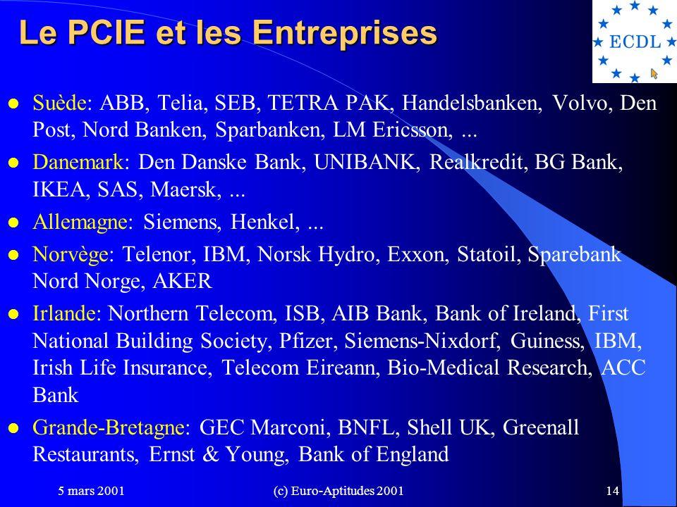 5 mars 2001(c) Euro-Aptitudes 200113 Le PCIE plébiscité par les Institutions l Allemagne: Commerce et Industrie: moyen de sensibiliser les entreprises à la nécessité d accroître le niveau de compétences.