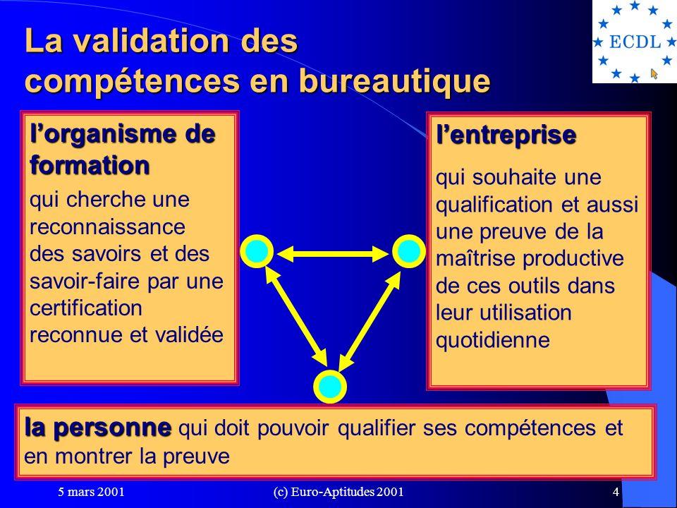 5 mars 2001(c) Euro-Aptitudes 20013 Parlez-vous les TIC .