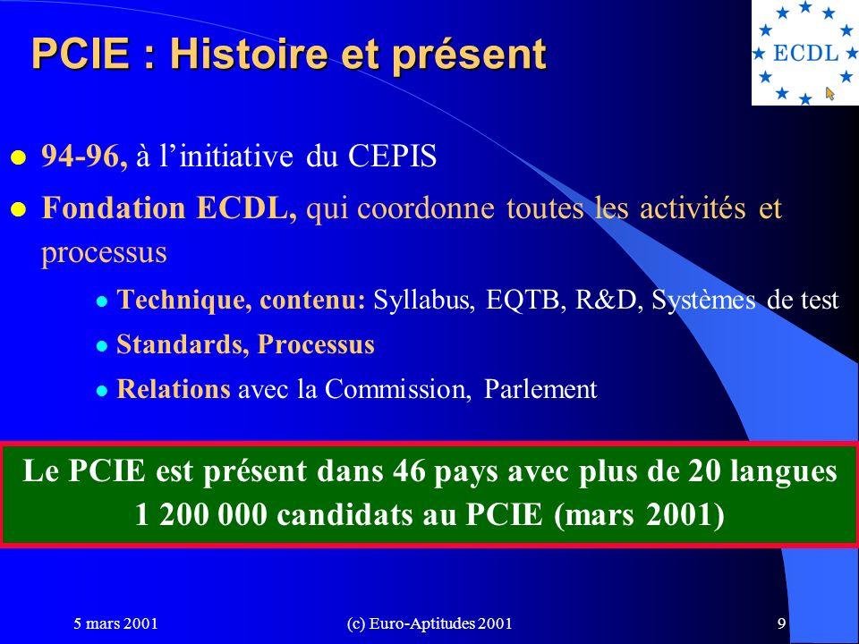 5 mars 2001(c) Euro-Aptitudes 20018 PCIE: Caractéristiques l Objectifs personnalisables parmi les 7 domaines l PCIE START: 4 modules au choix l Tests liés à la pratique quotidienne du poste de travail l Indépendance, Objectivité l Soutien européen: DG XIII, DG XXII, FSE, eEurope