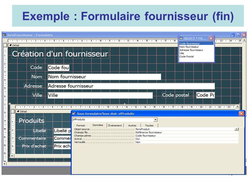 13 Exemple : Formulaire fournisseur (fin)