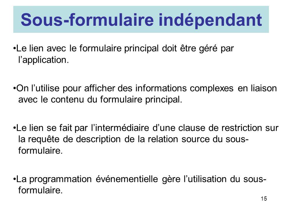 15 Sous-formulaire indépendant Le lien avec le formulaire principal doit être géré par lapplication.