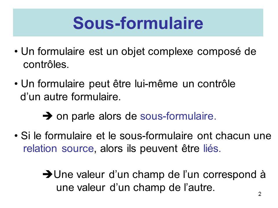 2 Sous-formulaire Un formulaire est un objet complexe composé de contrôles.