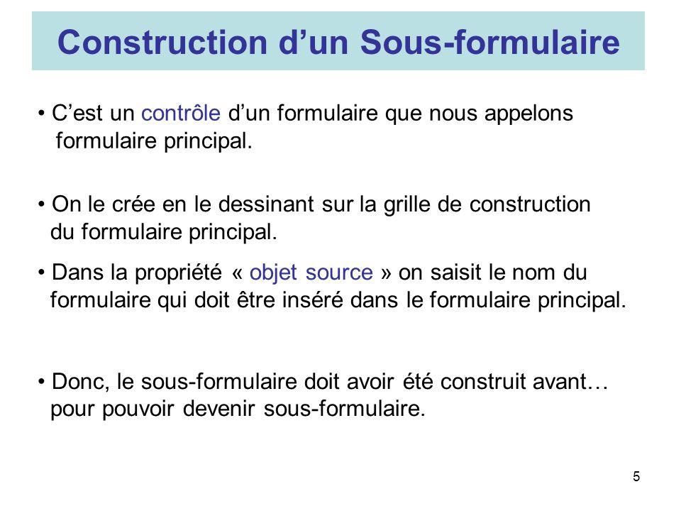 5 Construction dun Sous-formulaire Cest un contrôle dun formulaire que nous appelons formulaire principal.