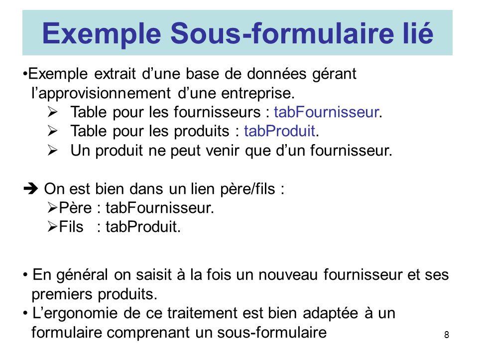 8 Exemple extrait dune base de données gérant lapprovisionnement dune entreprise.