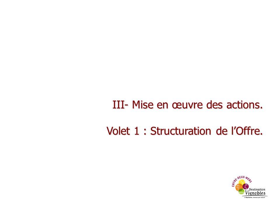 III- Mise en œuvre des actions. Volet 1 : Structuration de lOffre.
