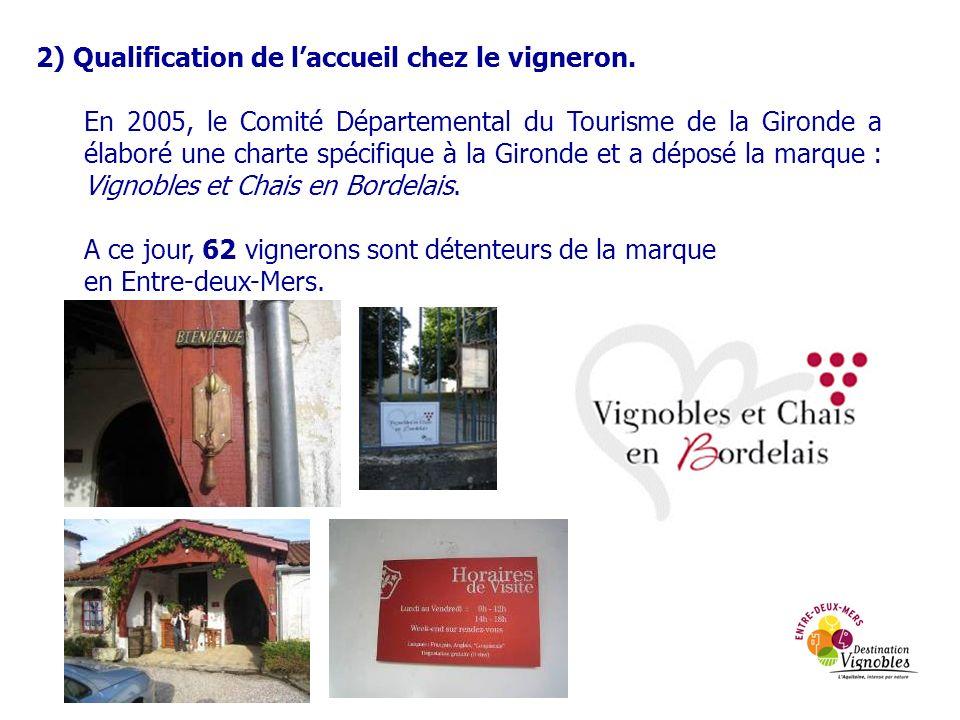 2) Qualification de laccueil chez le vigneron. En 2005, le Comité Départemental du Tourisme de la Gironde a élaboré une charte spécifique à la Gironde