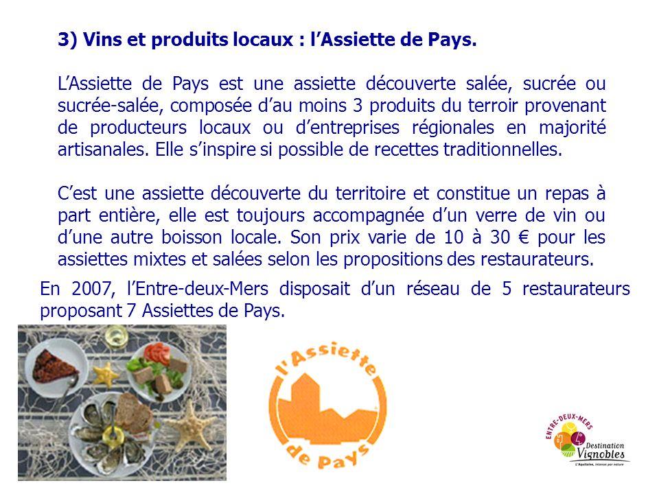 3) Vins et produits locaux : lAssiette de Pays. LAssiette de Pays est une assiette découverte salée, sucrée ou sucrée-salée, composée dau moins 3 prod