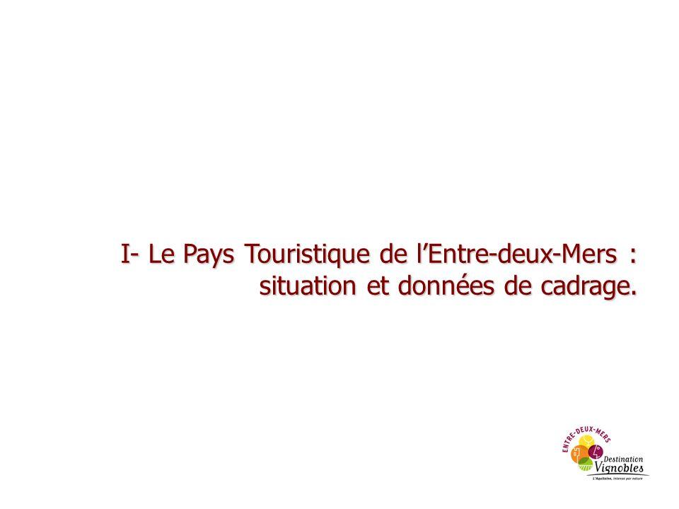 I- Le Pays Touristique de lEntre-deux-Mers : situation et données de cadrage. situation et données de cadrage.