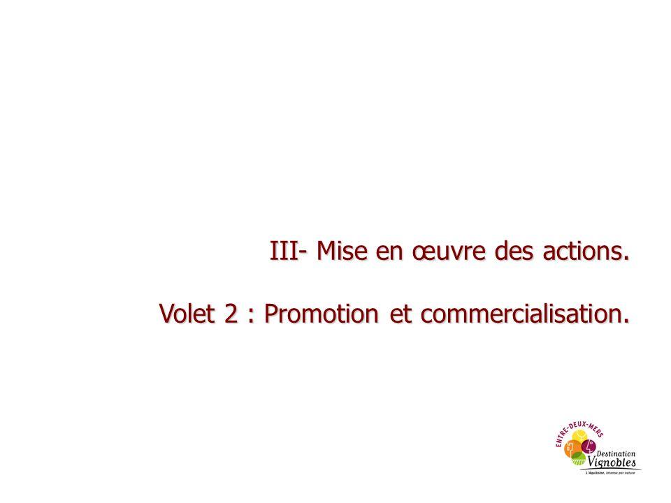 III- Mise en œuvre des actions. Volet 2 : Promotion et commercialisation.