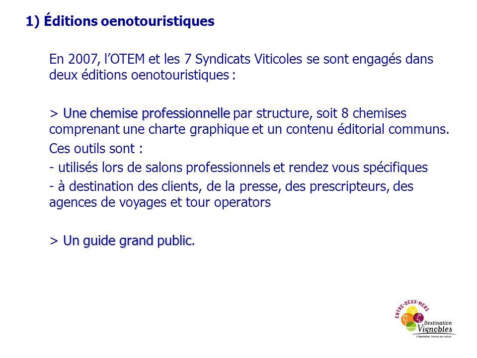 1) Éditions oenotouristiques En 2007, lOTEM et les 7 Syndicats Viticoles se sont engagés dans deux éditions oenotouristiques : Une chemise professionn