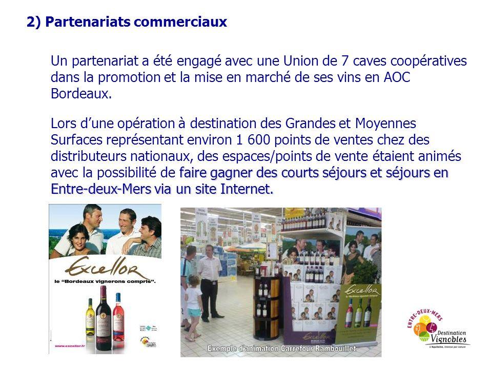 2) Partenariats commerciaux Un partenariat a été engagé avec une Union de 7 caves coopératives dans la promotion et la mise en marché de ses vins en AOC Bordeaux.