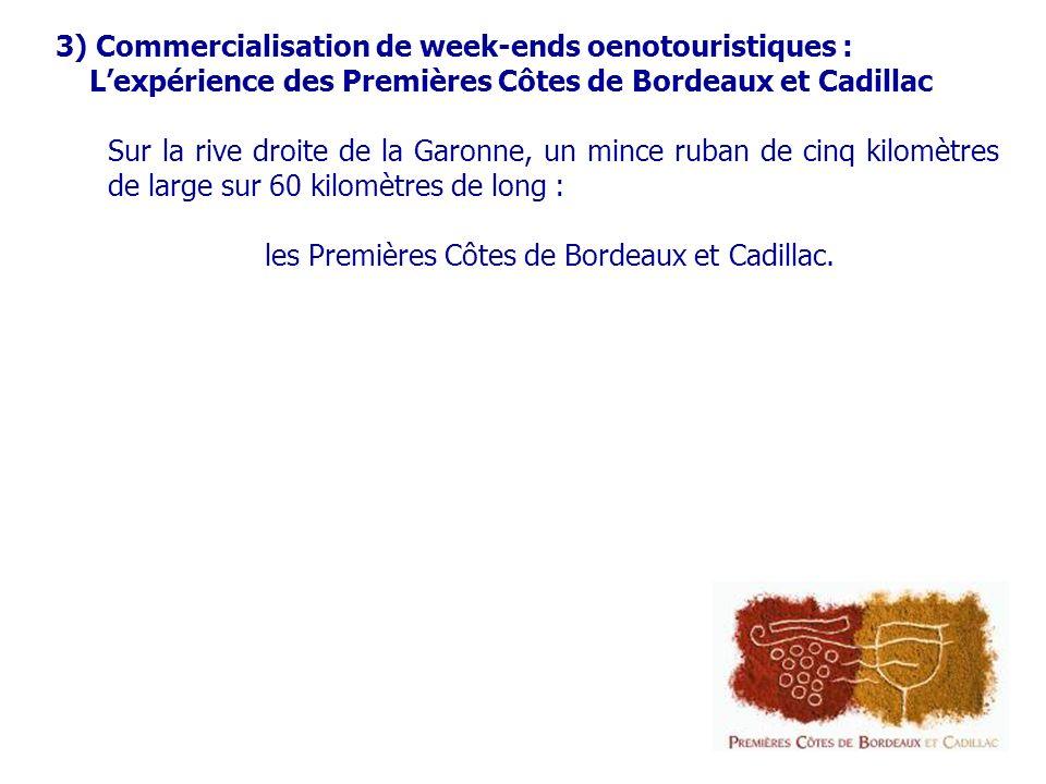 3) Commercialisation de week-ends oenotouristiques : Lexpérience des Premières Côtes de Bordeaux et Cadillac Sur la rive droite de la Garonne, un mince ruban de cinq kilomètres de large sur 60 kilomètres de long : les Premières Côtes de Bordeaux et Cadillac.