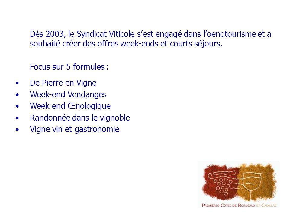 Dès 2003, le Syndicat Viticole sest engagé dans loenotourisme et a souhaité créer des offres week-ends et courts séjours.