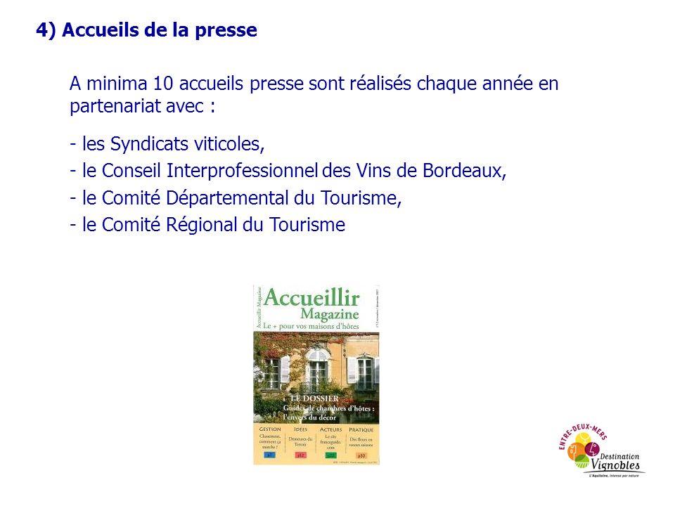 4) Accueils de la presse A minima 10 accueils presse sont réalisés chaque année en partenariat avec : - les Syndicats viticoles, - le Conseil Interpro