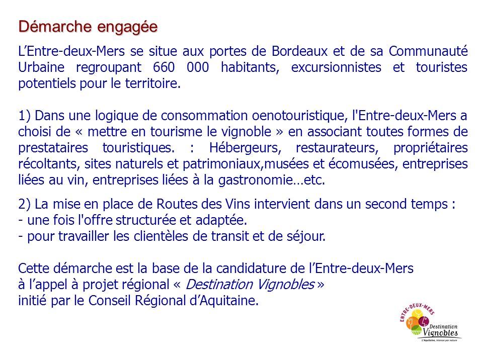 Démarche engagée LEntre-deux-Mers se situe aux portes de Bordeaux et de sa Communauté Urbaine regroupant 660 000 habitants, excursionnistes et tourist