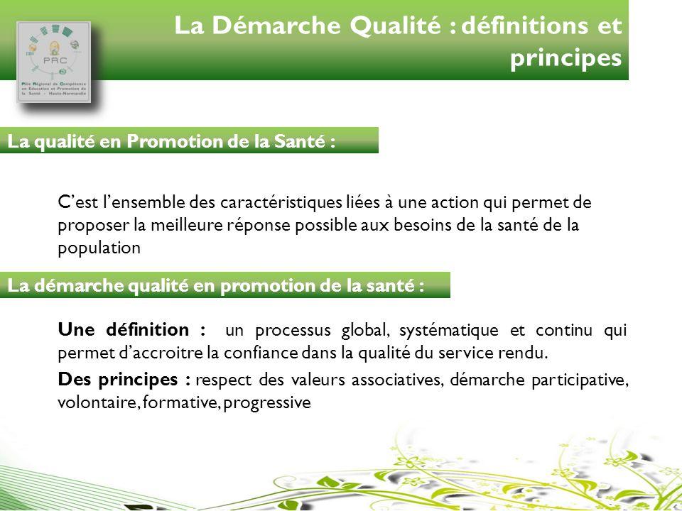 La Démarche Qualité : définitions et principes Cest lensemble des caractéristiques liées à une action qui permet de proposer la meilleure réponse poss