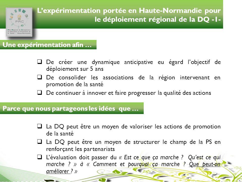 Lexpérimentation portée en Haute-Normandie pour le déploiement régional de la DQ -1- De créer une dynamique anticipative eu égard lobjectif de déploie