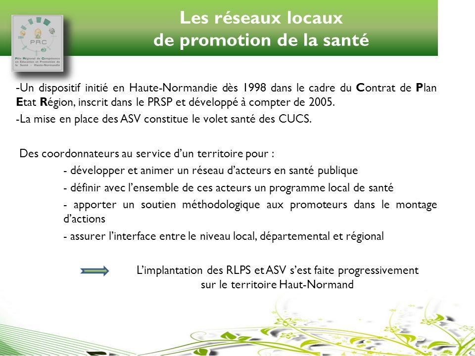 Les réseaux locaux de promotion de la santé - Un dispositif initié en Haute-Normandie dès 1998 dans le cadre du Contrat de Plan Etat Région, inscrit d
