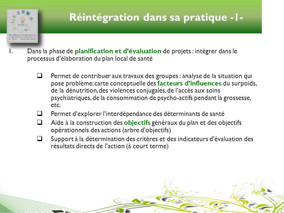 Réintégration dans sa pratique -1- 1.Dans la phase de planification et dévaluation de projets : intégrer dans le processus délaboration du plan local