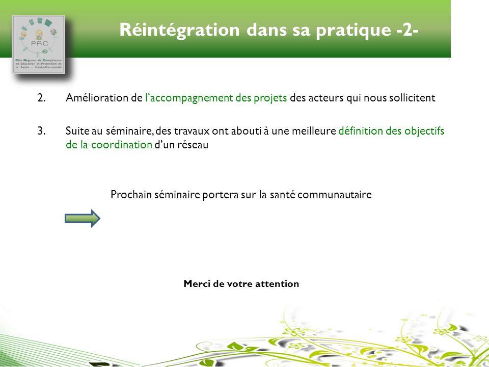 Réintégration dans sa pratique -2- 2.Amélioration de laccompagnement des projets des acteurs qui nous sollicitent 3.Suite au séminaire, des travaux on