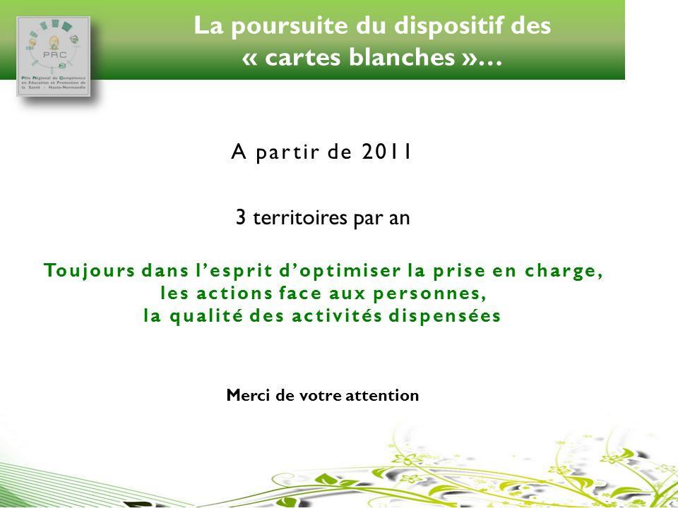 La poursuite du dispositif des « cartes blanches »… A partir de 2011 3 territoires par an Toujours dans lesprit doptimiser la prise en charge, les act