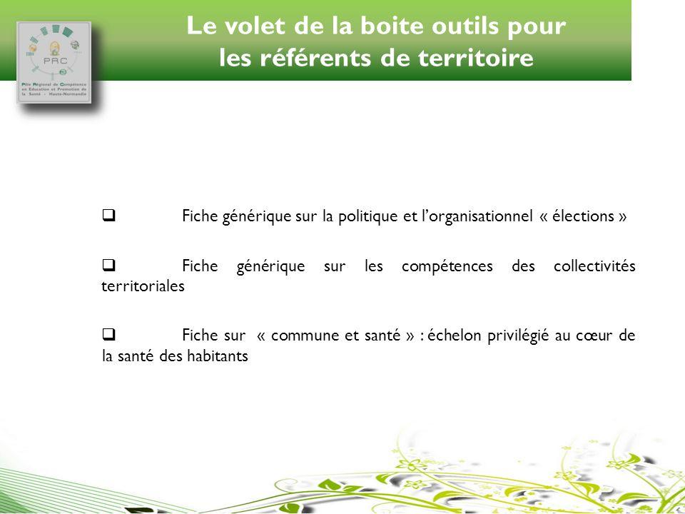 Le volet de la boite outils pour les référents de territoire Fiche générique sur la politique et lorganisationnel « élections » Fiche générique sur le