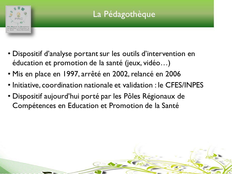 La Pédagothèque Dispositif danalyse portant sur les outils dintervention en éducation et promotion de la santé (jeux, vidéo…) Mis en place en 1997, ar