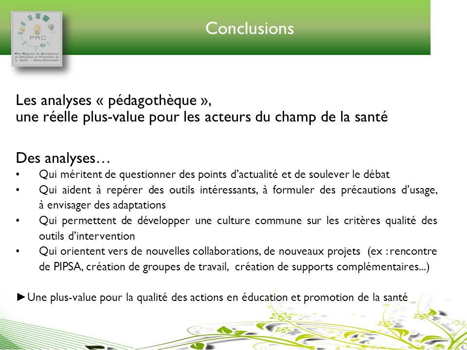 Conclusions Les analyses « pédagothèque », une réelle plus-value pour les acteurs du champ de la santé Des analyses… Qui méritent de questionner des p
