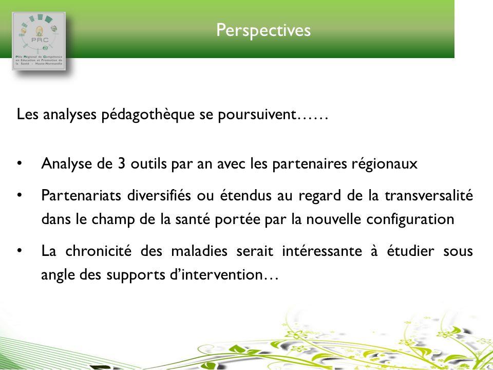 Perspectives Les analyses pédagothèque se poursuivent…… Analyse de 3 outils par an avec les partenaires régionaux Partenariats diversifiés ou étendus