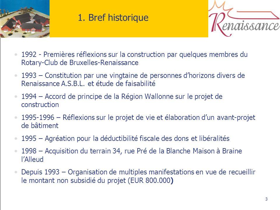 3 1. Bref historique 1992 - Premières réflexions sur la construction par quelques membres du Rotary-Club de Bruxelles-Renaissance 1993 – Constitution